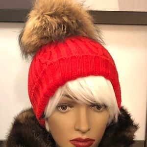 M. Miller cashmere and real fur Pom beanie